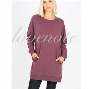 🍂 S-XL Sweatshirt Tunic Dress Crew Neck Pockets
